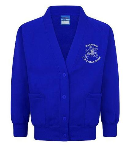 Royal Blue Cardigan - available with logo
