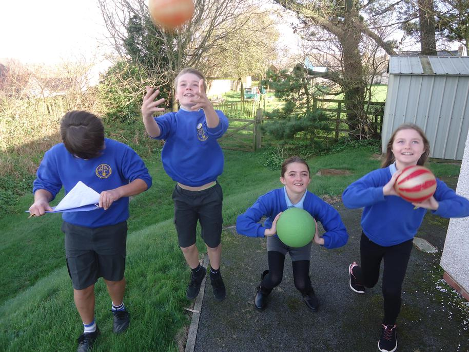 Our new Sports Squad:Max, George, Libby and Sophie