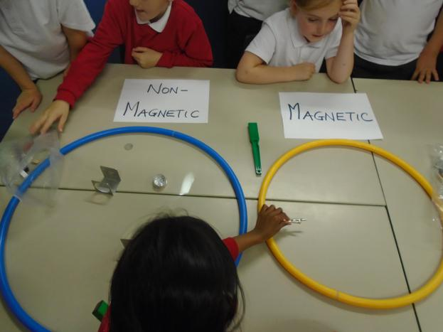 Testing materials for magnetism.