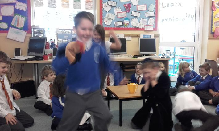 The hen flapping around the room!