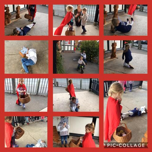 The children acted out the story 'Little Red Riding Hood.'