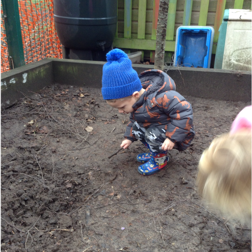 Digging in the mud pit