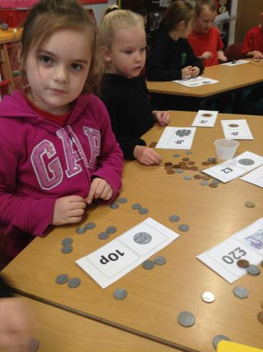 In Year 1 the children have been looking at different coins, and finding change.