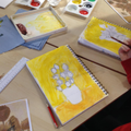 Warm and cool yellows were used.