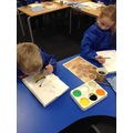 Mixing tints and tones to create Sunflowers.