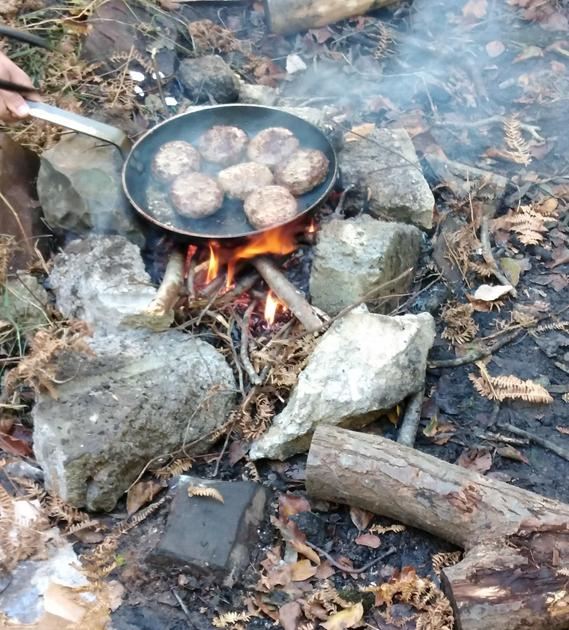 Burgers always taste better on a fire you've made!