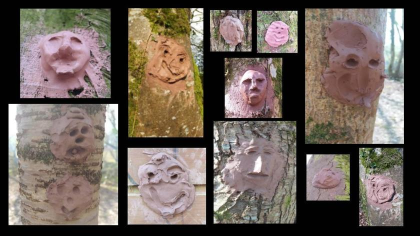 We left clay faces on the trees at forest school.