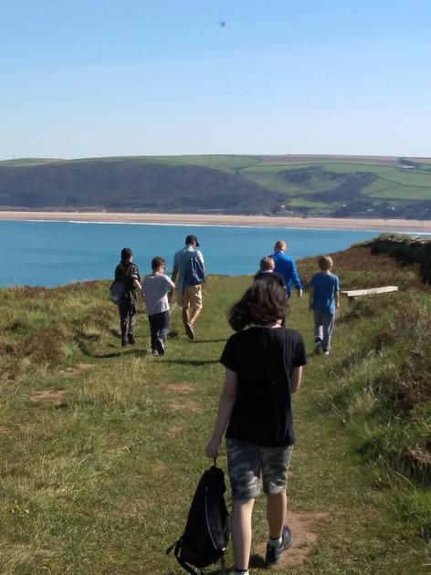 One of our weekly walks: here we are making our way around Baggy Point towards Putsborough