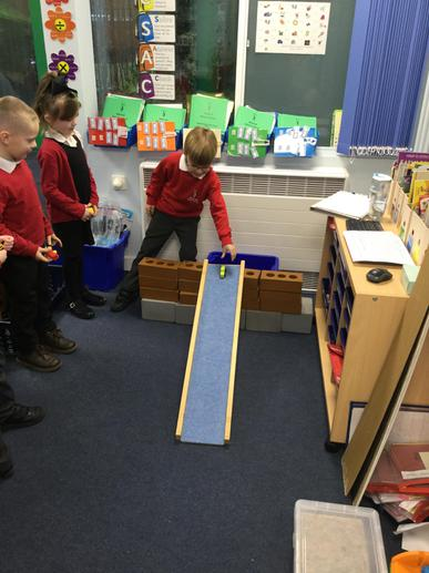 Testing cars on the ramp.