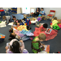 Relaxing and reading our own books.