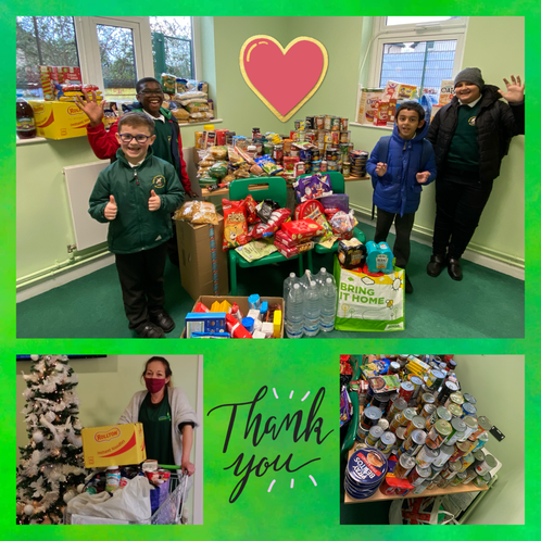 We donated food to the local food bank to help others