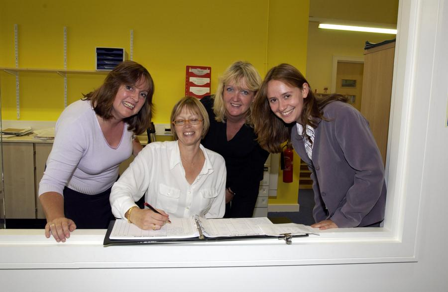 Ms Jackson, Mrs Price, Mrs Brooks and Miss Munden in the office