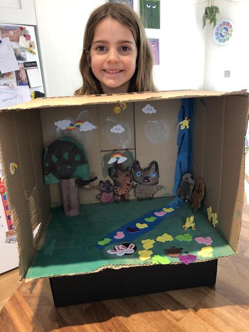 Emmy's rabbit meadow diorama