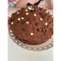 Double layer chocolate cake with chocolate icing!