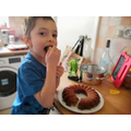 Alaz in Frog class testing out his cake