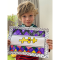 Charlie in Tadpole's Esther Mahlangu piece