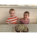 Ethan and Harrison in Tadpole's chocolate cake
