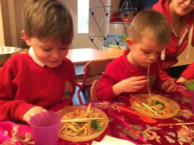 Using chopsticks was hard!