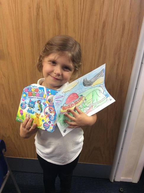 Winner of Autumn Marshlands Marvellous Meal colouring competition