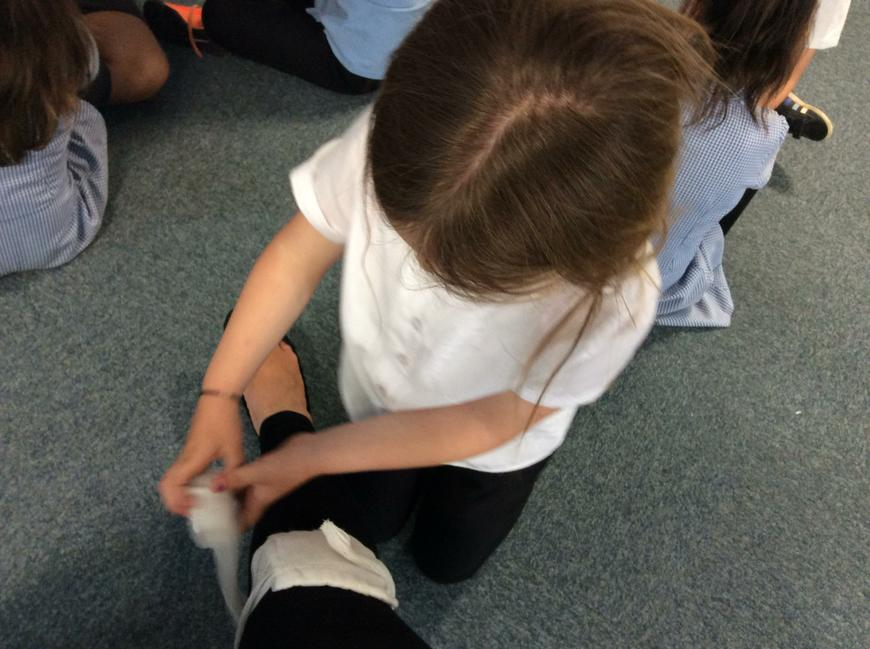We had a go at putting on bandages.