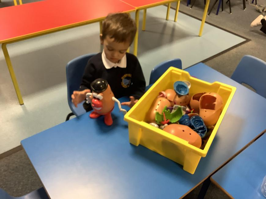 Creating different characters with Mr Potato Head