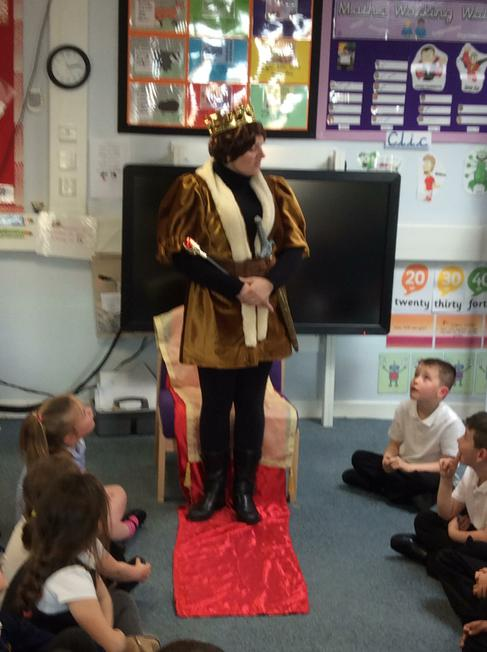 We had a visit from the king in our story.