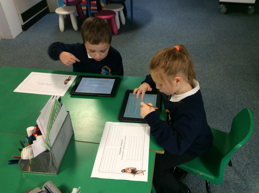 We used the Ipads to find facts about cavemen.