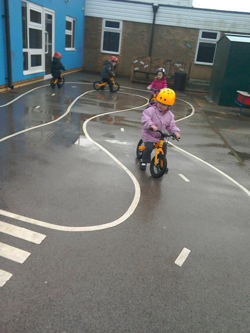 We had a go on the balance bikes.