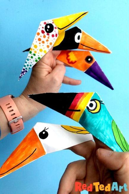 Parrot finger puppets using folded paper