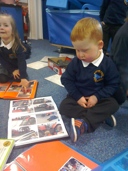 Looking at our homemade books