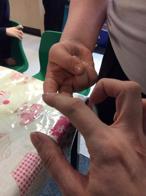 Then we put oil on our fingers. They didn't stick!