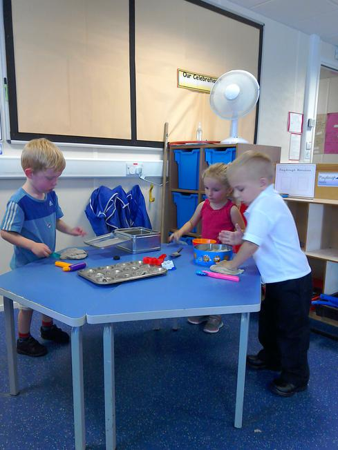 At the playdough table