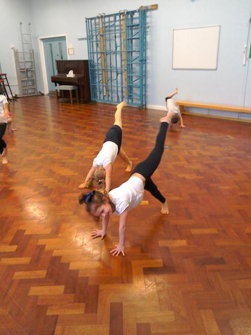 PE lesson balances in gymnastics