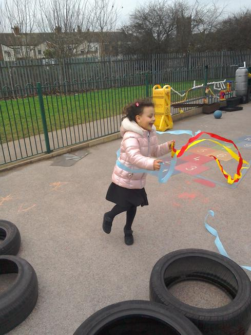 A very windy day using crape paper strips