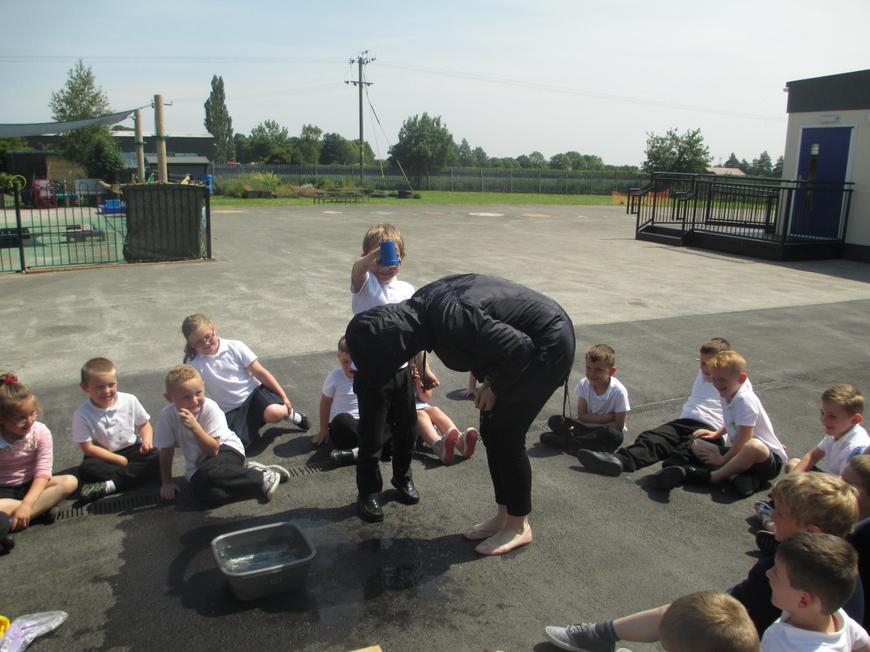 Miss Howe got wet!