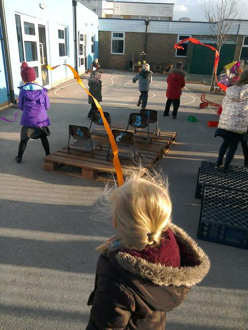 On windy days we play with streamers!