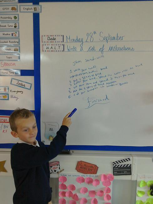 Derry has recorded the instructions on the board!