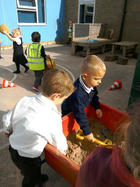 The outdoor sand pit