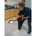 Mrs Smith helped us flick the pancakes!