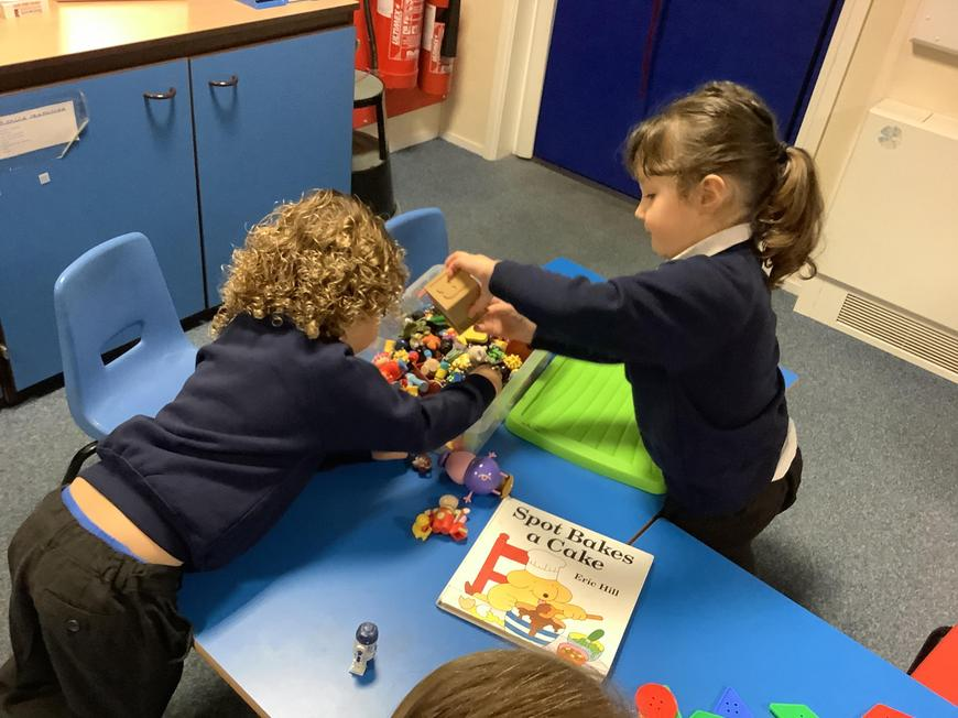 Fine motor skills playing with tiny toys