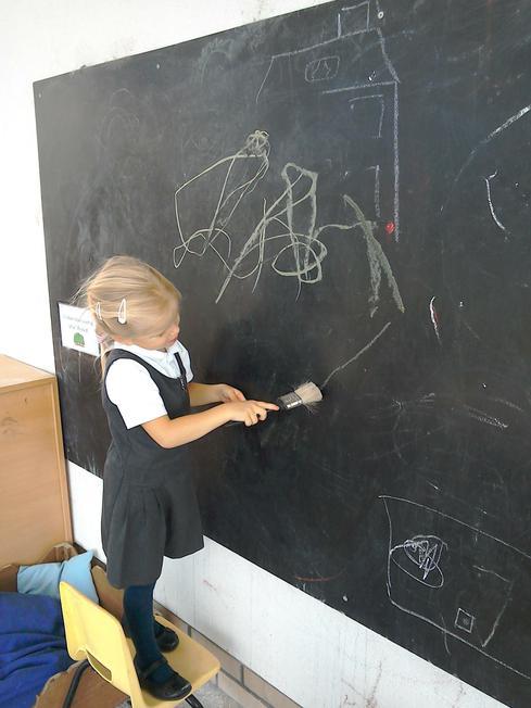 Mark making at the chalk board
