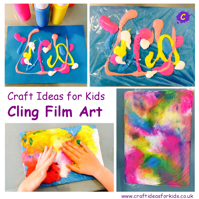 Cling film art with paint
