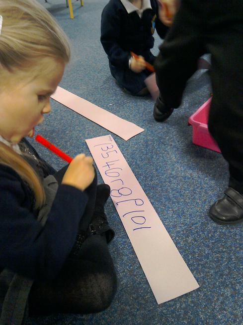 Writing our numbers independently.