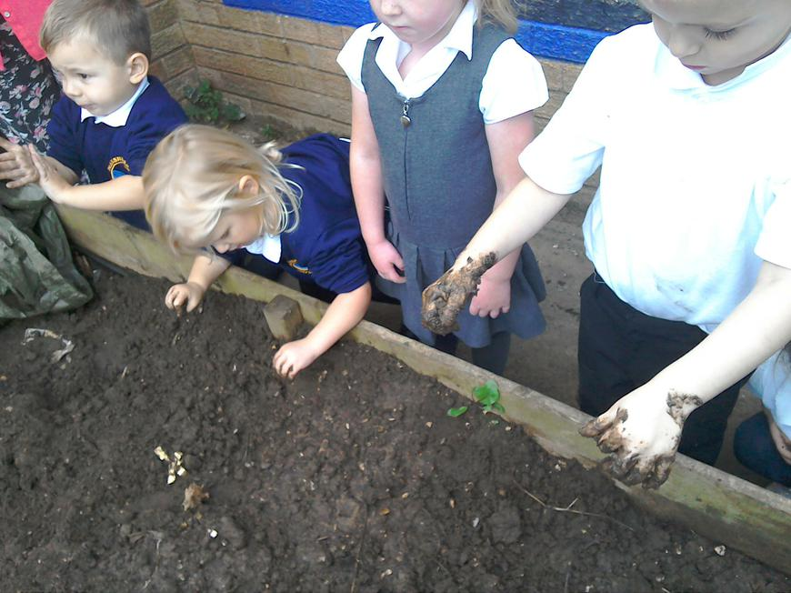 exploring the texture of mud!