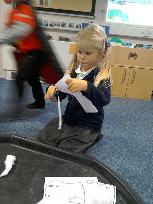 We made ghosts using cotton wool