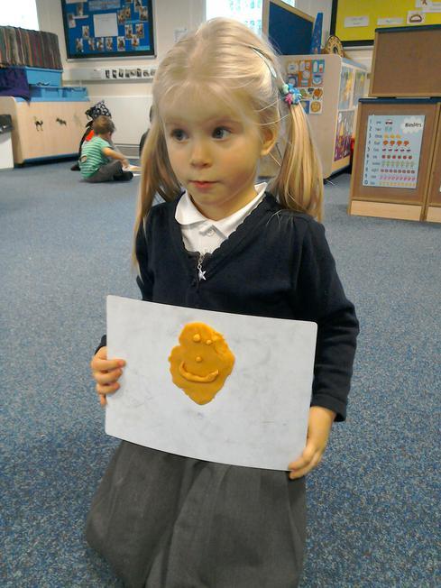 We made pumpkin faces using playdough