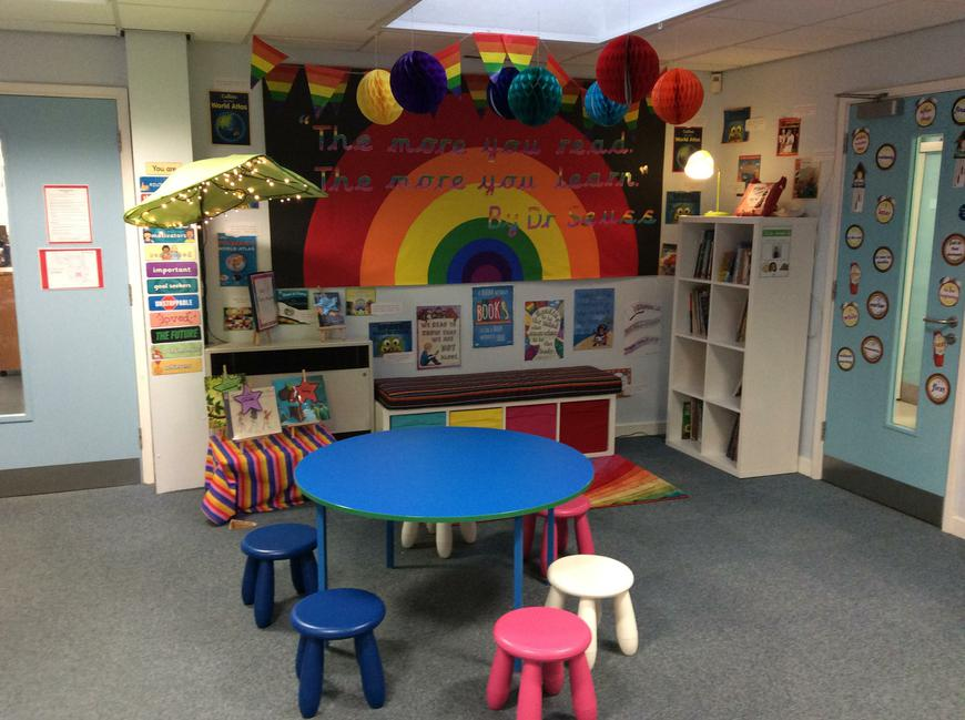Our wonderful new Rainbow Reading Corner