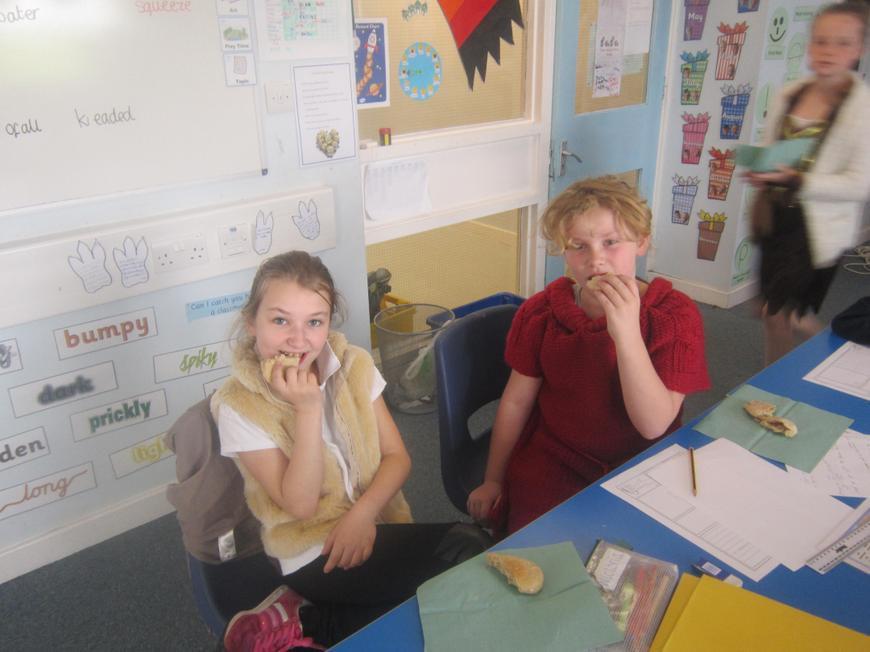Tasting our bread!