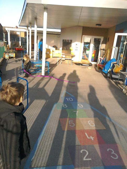 We looked at our shadows - look how big we are!