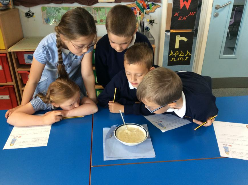 We measured the temperature with thermometers.